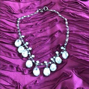 J. Crew rhinestone tarnished gold necklace